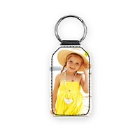 Leather Rectangular Photo Key Ring