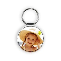 Leather Cicular Photo Key Ring